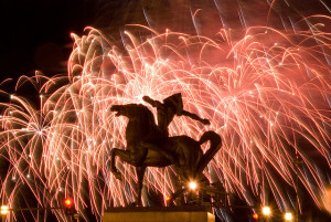 Horse statue fireworks